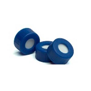 已认证的蓝色螺口盖,含PTFE/白色硅橡胶隔垫,100/包