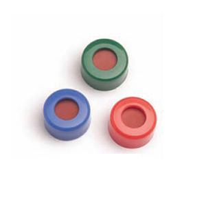 已认证的绿色螺口盖,含PTFE/白色硅橡胶隔垫,100/包