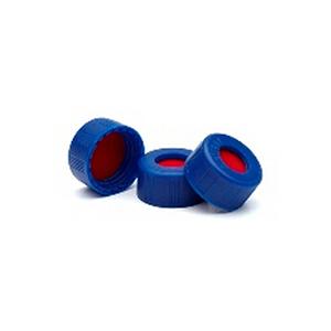 已认证的蓝色螺口盖,含PTFE/硅橡胶/PTFE隔垫,500/包