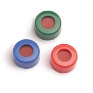 瓶盖,螺口,蓝色,经认证,预开口的固定 PTFE/硅橡胶隔垫,500/包。瓶盖尺寸:12 mm