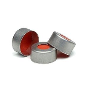 瓶盖,钳口,银色铝质,PTFE/红色橡胶隔垫,11 mm,500/包。瓶盖尺寸:11 mm