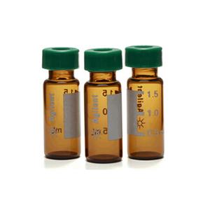 样品瓶便携式套装,螺口,透明样品瓶,蓝色瓶盖,经认证,预开口的固定 PTFE/硅橡胶隔垫,500/包。样品瓶规格:12 × 32 mm(12 mm 瓶盖)0