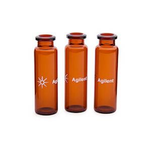 样品瓶,钳口,顶空,棕色,平底,经认证,20 mL,23 mm × 75 mm,100/包。样品瓶规格:22.75 mm × 75 mm(20 mm 瓶盖)