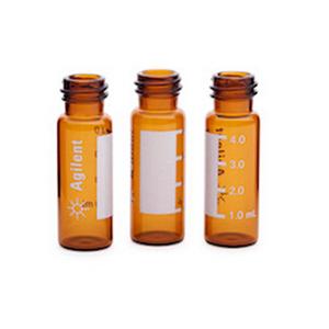 样品瓶,螺口,棕色,带书写签,4 mL,15 mm × 45 mm,100/包。样品瓶尺寸:15 mm × 45 mm(13-425 瓶盖)