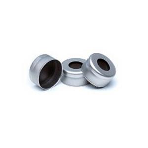 瓶盖,钳口,银色铝质,经认证,11 mm,黑色 FPM 隔垫,100/包。瓶盖尺寸:11 mm