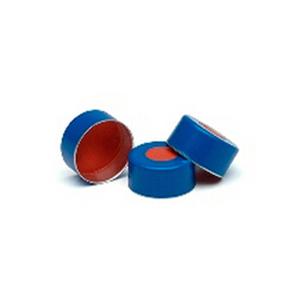 瓶盖,钳口,蓝色铝质,11 mm,PTFE/红色橡胶隔垫,100/包。瓶盖尺寸:11 mm
