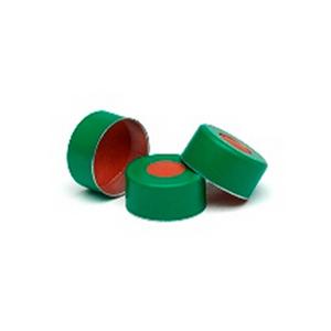 瓶盖,钳口,绿色铝质,11 mm,PTFE/红色橡胶隔垫,100/包。瓶盖尺寸:11 mm
