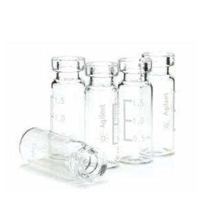 样品瓶,钳口,透明,带书写签,经认证,2 mL,100/包。样品瓶规格:12 × 32 mm(11 mm 瓶盖)