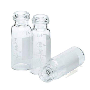 样品瓶套件,螺口,预组装,带书写标签,蓝色瓶盖,经认证,PTFE/红色橡胶隔垫,2 mL,100/包