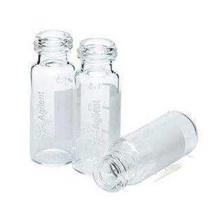 样品瓶便携式套装,螺口,透明样品瓶,带书写标签,蓝色瓶盖,经认证,预开口的 PTFE/硅橡胶隔垫,500/包。样品瓶规格:12 × 32 mm(12 mm 瓶盖)