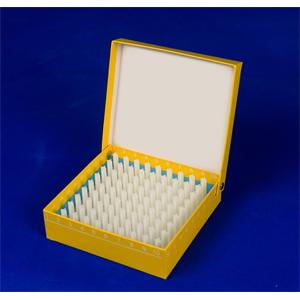 彩色翻盖高端纸冷冻盒,1英寸,100格,133*133*36mm,5个/包,4包/箱