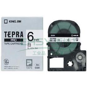 锦宫白色标签色带, 白底黑字 6mmx8m,适用锦宫标签机