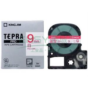 白色标签色带 白底红字 9mmx8m,适用锦宫标签机