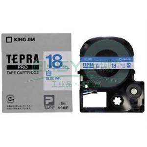 锦宫白色标签色带, 白底蓝字 18mmx8m,适用锦宫标签机