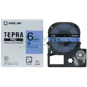 锦宫彩色标签(浅淡色),蓝底黑字,6mmx8m,适用锦宫标签机