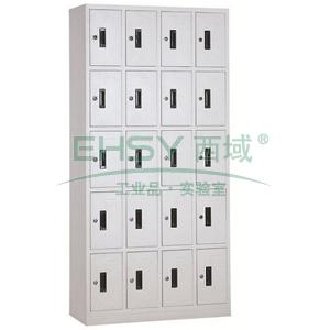 西域推薦 二十門多用柜,900寬*360深*1800高,灰白色,鋼板厚度為0.7mm
