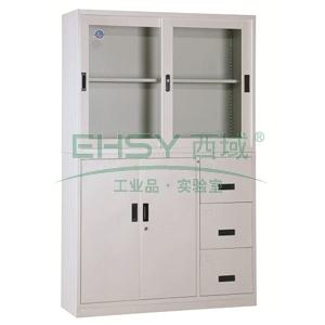 宽偏三斗柜,1180宽*390深*1850高,灰白色,钢板厚度为0.8mm