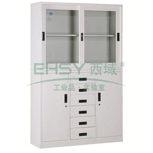 宽中六斗柜,1180宽*390深*1850高,灰白色,钢板厚度为0.8mm