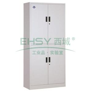 西域推荐 文件柜,上下等高通体双节柜,900宽*390深*1800高,灰白色,钢板厚度为0.7mm
