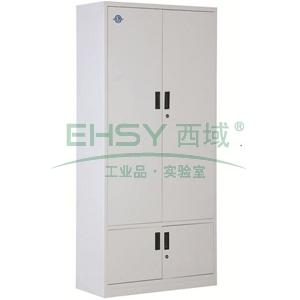 西域推荐 文件柜,下档凭证柜,900宽*390深*1850高,灰白色,钢板厚度为0.8mm