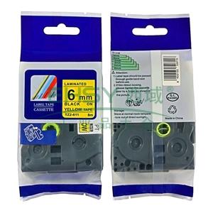 标签色带,黄底黑字TZ2-611宽度6mm 适用于兄弟TZ系列标签机