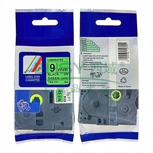 标签色带,绿底黑字TZ2-721宽度9mm 适用于兄弟TZ系列标签机