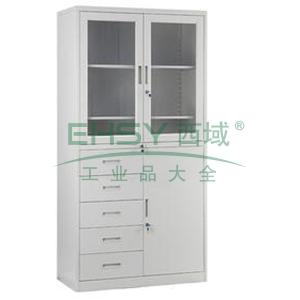 器械偏五斗柜玻璃,900宽*400深*1840高,灰白色,0.7mm厚度