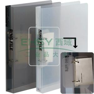 得力二孔D型透明文件夹,颜色随机  5381
