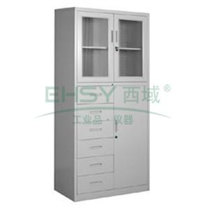 玻璃开门六斗单门柜, 1840×900×400mm,仅限上海地区