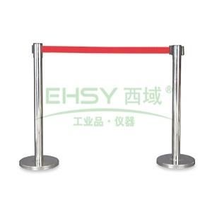 国产不锈钢伸缩护栏,红色护栏带,带长2m,高910mm,直径63mm
