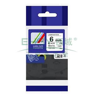 标签色带,白底黑字TZ2-211宽度6mm 适用于兄弟TZ系列标签机