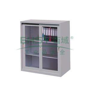 玻璃移门柜,900(W)x400(D)x900(H) 灰白