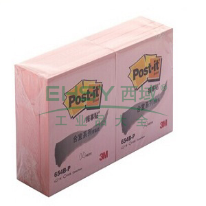 3M Post-it? 便條紙,合宜系列 654B-P 粉色 100頁/本 72*76mm 辦公裝,單位:包