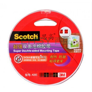 3M思高双面泡棉胶带,420C-12超强 12MMX3M 单卷