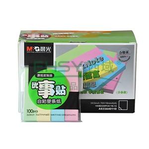 """晨光 M&G 优事贴四分条自粘便条纸 AS33A40110 3""""*3"""" 76mm*19mm*4 100页/本 (黄、绿、蓝、粉红,混色装) 4本/包"""