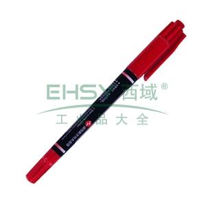 晨光 M&G 小双头记号笔 MG-2130 细头2.0mm,极细头0.5mm (红色) 12支/盒
