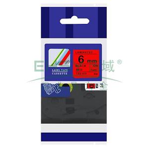 标签色带,红底黑字TZ2-411宽度6mm 适用于兄弟TZ系列标签机