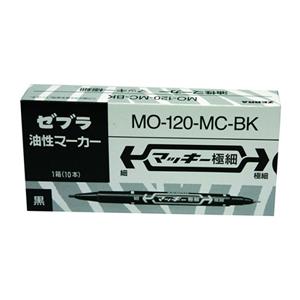 斑马 ZEBRA 小麦奇双头记号笔 MO-120 细头1.0-1.3mm,极细头0.5mm (黑色) 10支/盒