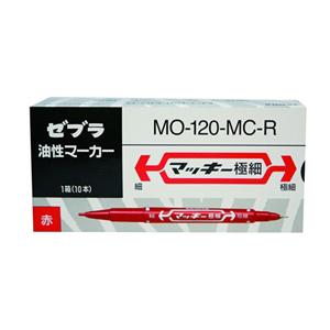 斑马 ZEBRA 小麦奇双头记号笔 MO-120 细头1.0-1.3mm,极细头0.5mm (红色) (支)