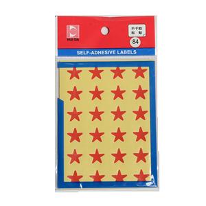 惠达 HD-84 红色五角星 自粘性标签 12张/包 直径16mm 红色