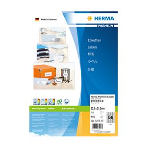 豪玛 打印标签 H4273-10(52.5*21.2mm,方角,56个/张)