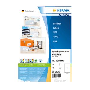 豪玛 打印标签 H4252-10(199.6*289.1mm,圆角,1个/张)