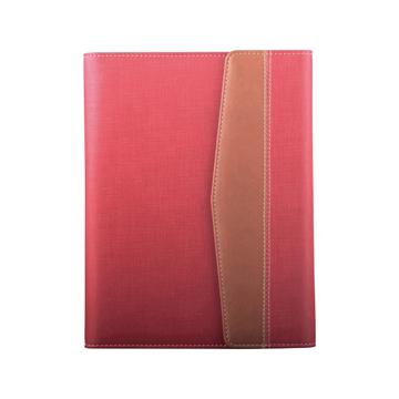 史泰博  三折磁性搭扣活页笔记本 25K,80页 红色和咖啡色拼接款