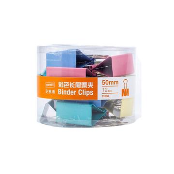 史泰博 C1008 1 彩色长尾票夹(筒装)12只/筒 50MM 彩色