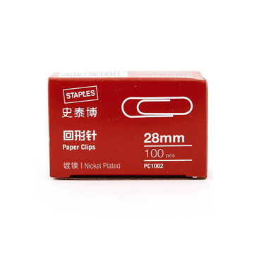 史泰博镀镍回形针,100枚/盒 28mm 金属银色 PC1002 单位:盒