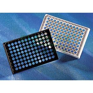 96孔板,黑色,透明平底(CFB),高结合表面,无盖,25个/包