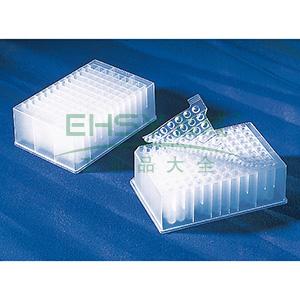 96孔储存或检测板,0.5ml圆孔,V形底,PP材质,无盖,灭菌,10个/包