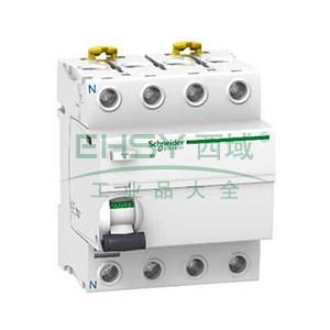 施耐德 微型漏电保护开关,Acti9 iID 4P 40A 100mA AC,A9R62440