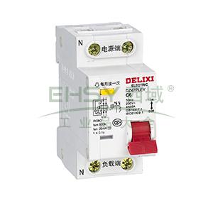 德力西 微型漏电保护断路器,DZ47PLEY 2P C6A,DZ47PLEYC6