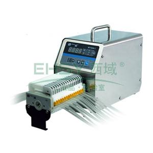 基本调速型蠕动泵,BT100S-1泵头DG10-16(10滚轮),单通道流量(毫升/分钟)0.00011~41,通道数量16